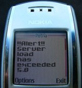 Nagios server load alert delivered by SMS