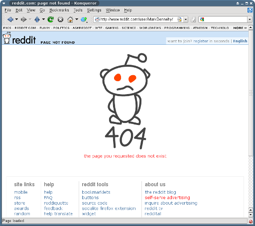 Reddit User Page 404 error