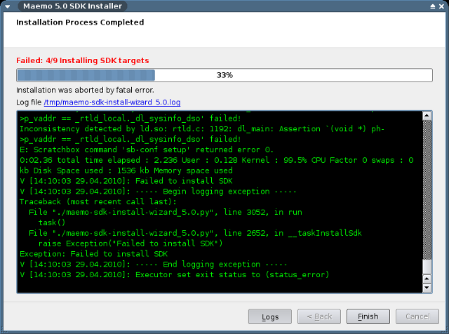 PyMaemo SDK Installation Screenshot