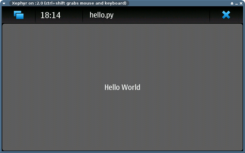 HelloWorld.py on ScratchBox