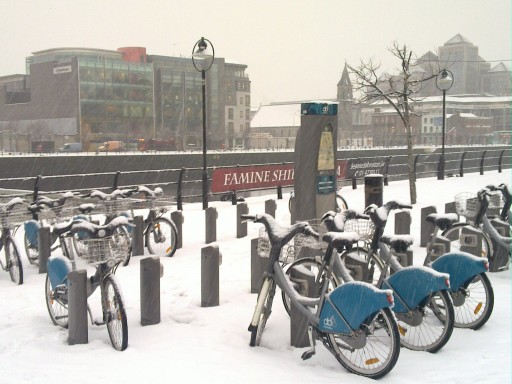 Snow-covered Dublin Bikes