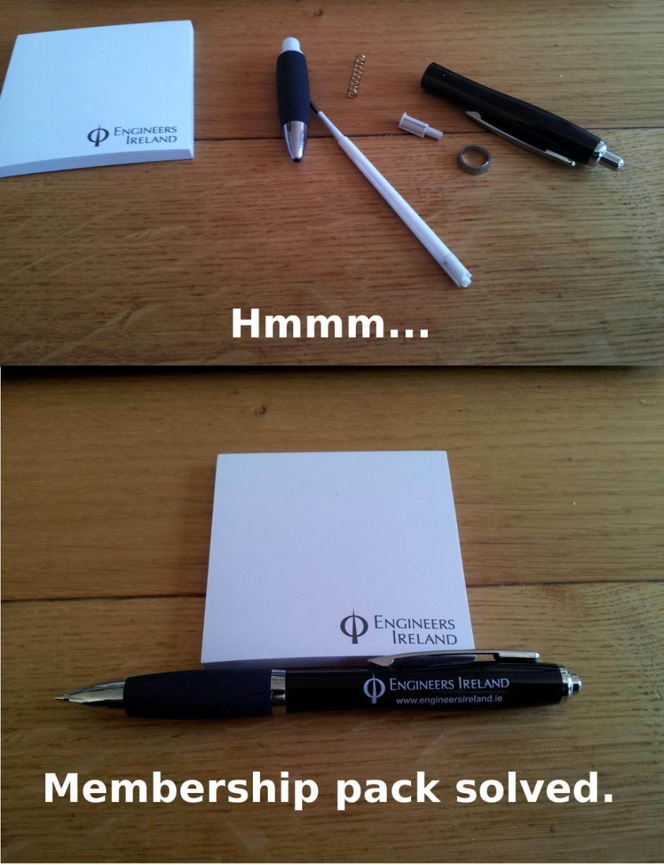 Engineers Ireland membership pack humour