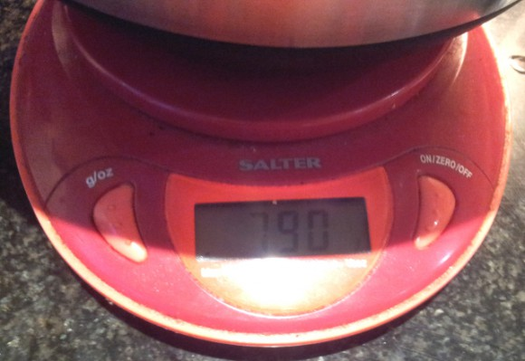 Total weight of steak